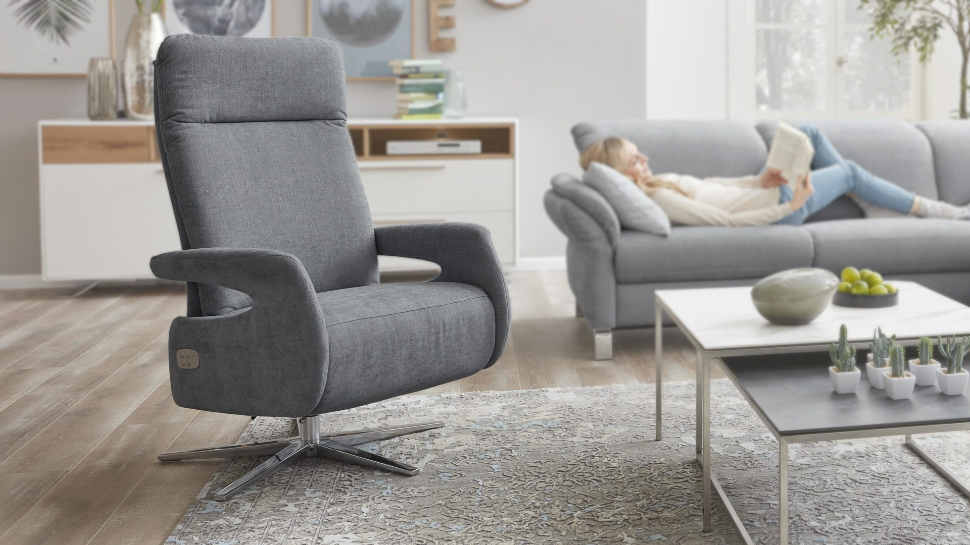 Relaxsessel 3c candy | il aus Stoff in Blau Interliving Sessel Serie 4510 – Relaxsessel jeansblauer Bezug Vintage & Sternfuß